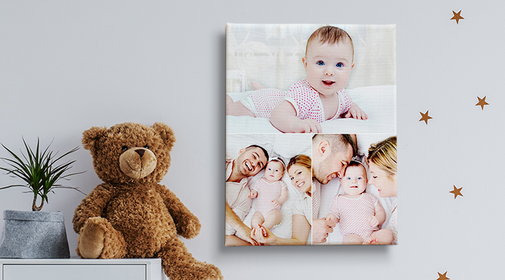 tela collage foto bambino